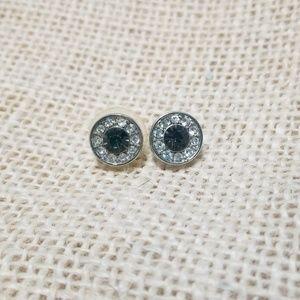 Vintage Rhinestone Halo Stud Earrings